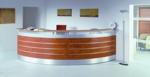 Empfangstheke Madrid rostoptik mit alu dekorstreifen halbrund
