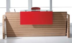 Empfangstheke Solid mit Glasauflage und roter ueberkantung