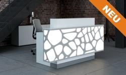 Empfangstresen Style in Weiss mit Led Beleuchtung und grauem Sockel