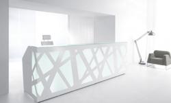 Empfangstresen Confuse in Weiss Stahl mit Led Beleuchtung und einzigartigem Front Design