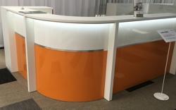Empfangstheke AS-Line Duo Hochglanz weiss orange