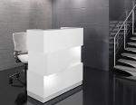 Empfangstheke Cube seitlich Korpus weiss sockel grau mit led beleuchtung
