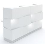 Empfangstheke Cube seitlich zwei nebeneinander Korpus weiss sockel grau mit led beleuchtung