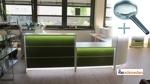 Empfangstheke Lunis Hochglanz gruen mit LED Beleuchtung