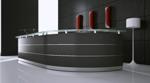 Empfangstheke maro gebogen in graphit mit satinierter glasauflage