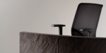 empfangstheke toronto detail schwarz mit stuhl